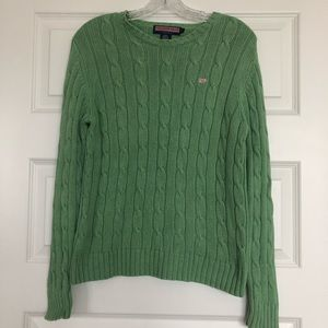 Green Vineyard Vines Cable knit sweater